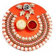 Orange Pearl Wooden Pooja Thalis