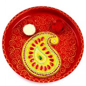 Pooja Thali Red And Mango Design