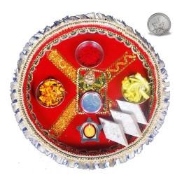 Red Puja Thali with Kaju Barfi
