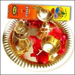 Golden Puja thali set