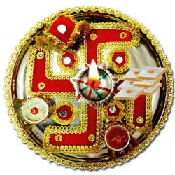 Swastik design thali with sweets