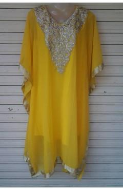 Yellow` Designer Chiffon Kaftan
