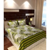 Cream n Green floral bedsheet