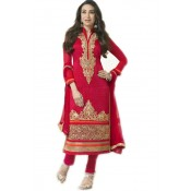 Red Semi-stitched salwar suit