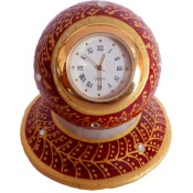 StonKraft 3 x 3 inch Jaipuri Gold Kundan Meenakari Painted Indian Marble Table Clock on Round Platform Mantel Clock Clock Red
