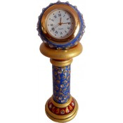 StonKraft 5 inch High Marble Made Working Office Table Clock with Beautiful Rajasthani Paint work Mantel Clock Clock Blue