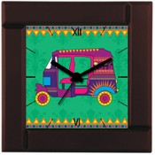 The Elephant Company Alarm Clock Rickshaw New Transport Analog Clock Multi Color