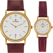 Titan Bandhan Analog Watch - For Couple Brown, Maroon