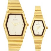 Sonata Fiber Collection Analog Watch - For Couple Gold