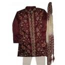 Maroon zardozi sherwani in tissue silk for boys