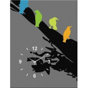 Abstract Colorful Birds Canvas Clock