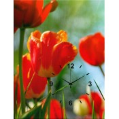 Red Tulips Canvas Clock