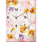 Yellow and purple Flowers I Canvas Clock