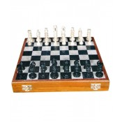 """Stone Chess Board Box 12"""" with Figure Pieces"""