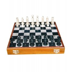 "Stone Chess Board Box 12"" with Figure Pieces"