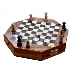 Hexagonal Marble Chess Board Box 10''