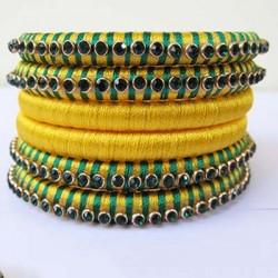 Yellow green combo silk thread bangle