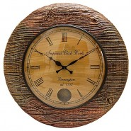 Antique Natural Wooden Shade Wall Clock