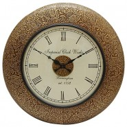 Gloden Shade Flower Design Wall Clock