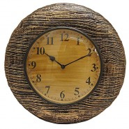 Golden Wood Wall Clock