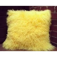 Chunmun fur Pillow yellow colour 2Pc zipped washable