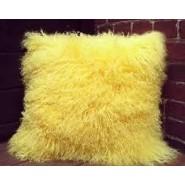 Chunmun fur Pillow yellow colour 2Pc zipped washable