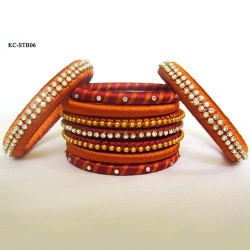 Mustard n Red Stone studded Silk thread bangles