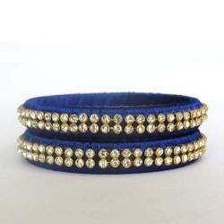 Blue Stone studded Silk thread bangles