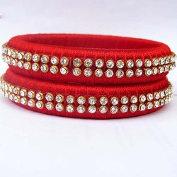 Red tone studded Silk thread bangles