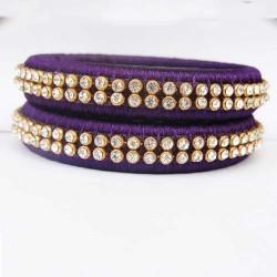 Purple Stone studded Silk thread bangles