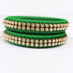 Green stone studded Silk thread bangles