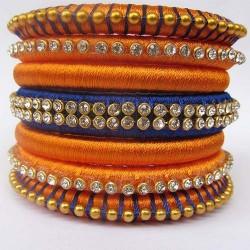 Orange n Blue Stone studded Silk thread bangles