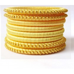 Yellow Stone studded Silk thread bangles