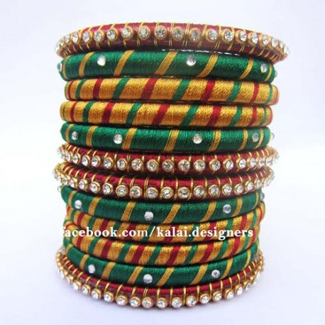Multi Color Stone studded Silk thread bangles