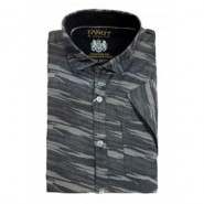 Black Grey Half Casual Shirt
