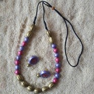 pink and violet round pearl set