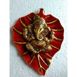 Ganesha Leaf Hanging Metal Ganesh Ji statue idol Wall Hanging Religious 20 CM