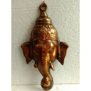 Ganesha Ganpati Face Black Metal Statue Gift Home Décor Figurine 10.5""