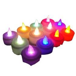 Eshoplift Multi Colour Led T Light Candles - Pack Of 12
