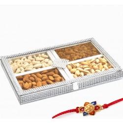 Ghasitaram Rakhi Special Mix Dryfruit Window Silver Box 400gms