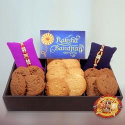 Cookies with 2 Rakhi Hamper