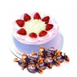Strawberry Cake n  25 eclairs combo