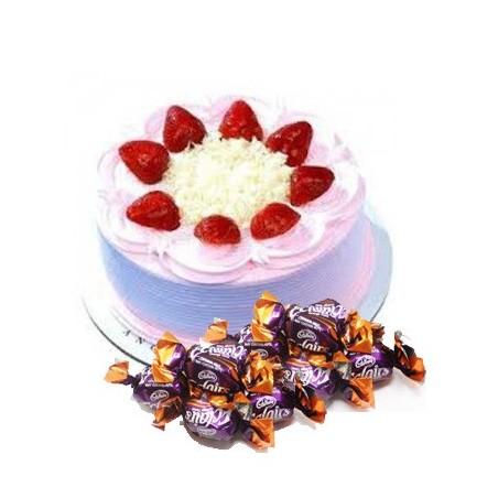 Strawberry Cake n  25 eclairs combo