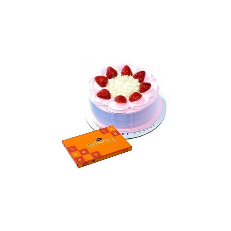 Strawberry Cake n Celebration combo