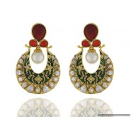 Half-Moon Shape Pearl Copper Chandbali Earring