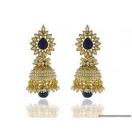 Flower Shape Pearl Copper Jhumki Earring