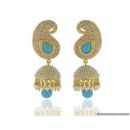 Mango Shape Pearl Copper Jhumki Earring