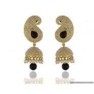Leaf Shape Pearl Copper Jhumki Earring