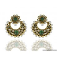 Swing Shape Pearl Copper Chandbali Earring