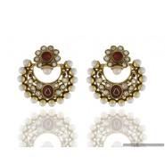 Swing Shape Pearl Copper Chandbali Earring